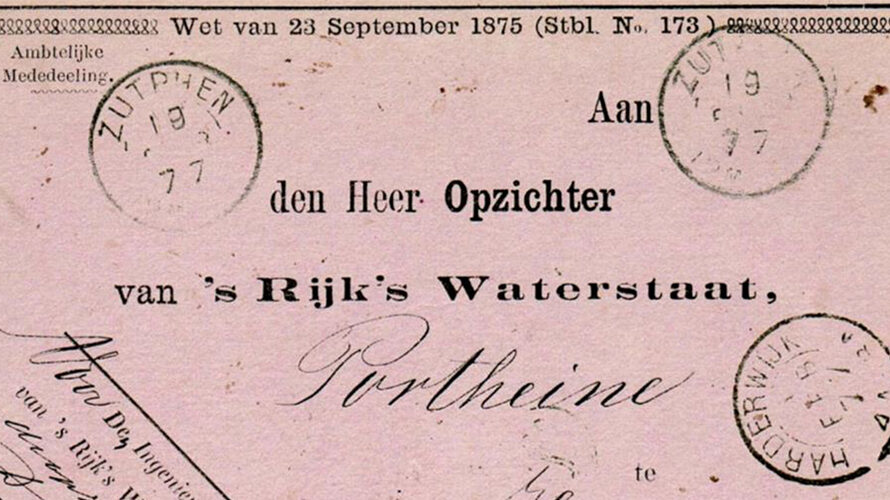 An 1877 Rijk's Waterstaat Dienst Post Card