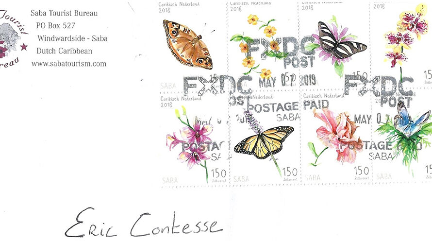 """Butterflies and Flowers 2018"" souvenir sheet on cover from Saba"